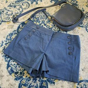 LOFT Chambray Sailor Button Riviera Shorts Blue 8